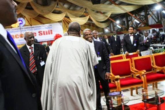 President Jonathan and prof Osinbajo at RCCG camp