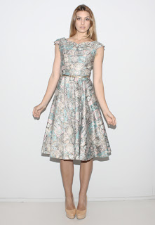 Vintage 1950's pastel cotton seashell print dress.