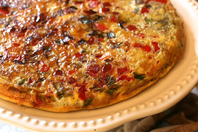 Red Pepper Frittata with Rustic Homemade Bread