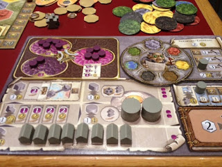 Player board mid play for Terra Mystica board game