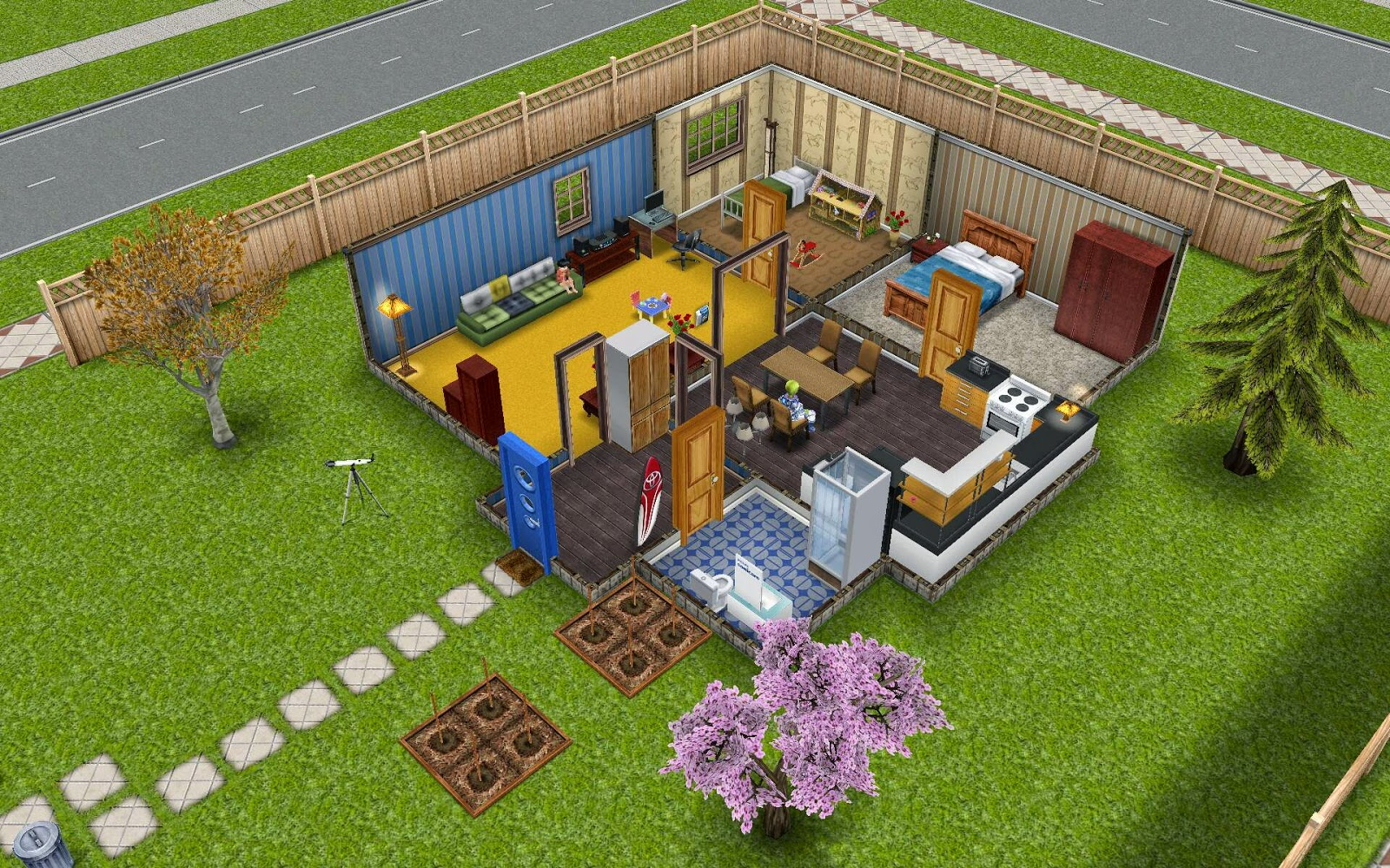 The bedrooms are located at the back of the house  two doorways offer easy  access to the kitchen and den  Hardwood floors and earthy furniture make  all. Sims Freeplay Housing  Standard Plot Residence
