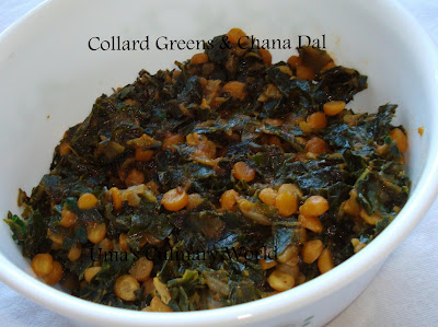 collards sabji with chana dal