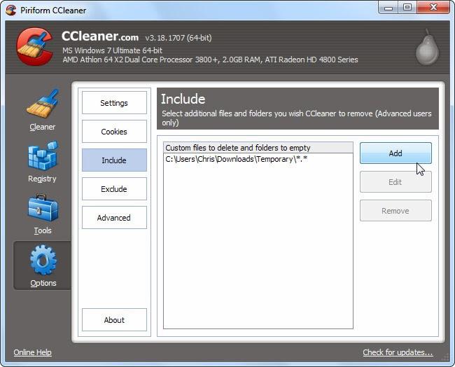 مسح محتويات مجلدات معينة باستخدام برنامج ccleaner