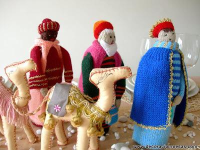 decoracion mesa figuras Reyes Magos en punto