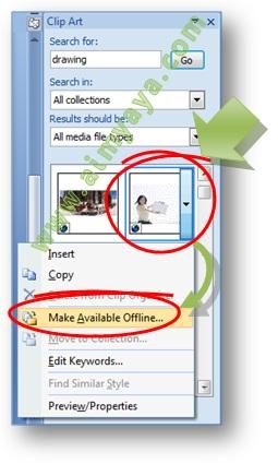 Gambar: Cara membuat clippart online menjadi koleksi offline di Microsoft Word 2007