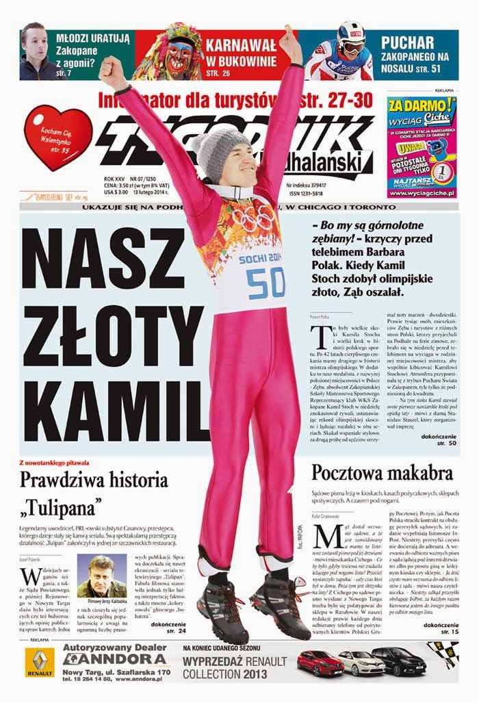 Kamil Stoch Photos from Tygodnik Podhalański Poland Magazine Cover February 2014 HQ Scans