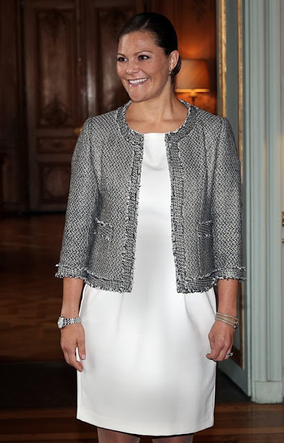 Pregnant Crown Princess Victoria of Sweden attends an opening of an exhibition devoted to Count Folke Bernadotte's activities at the Mediterranean Sea Museum