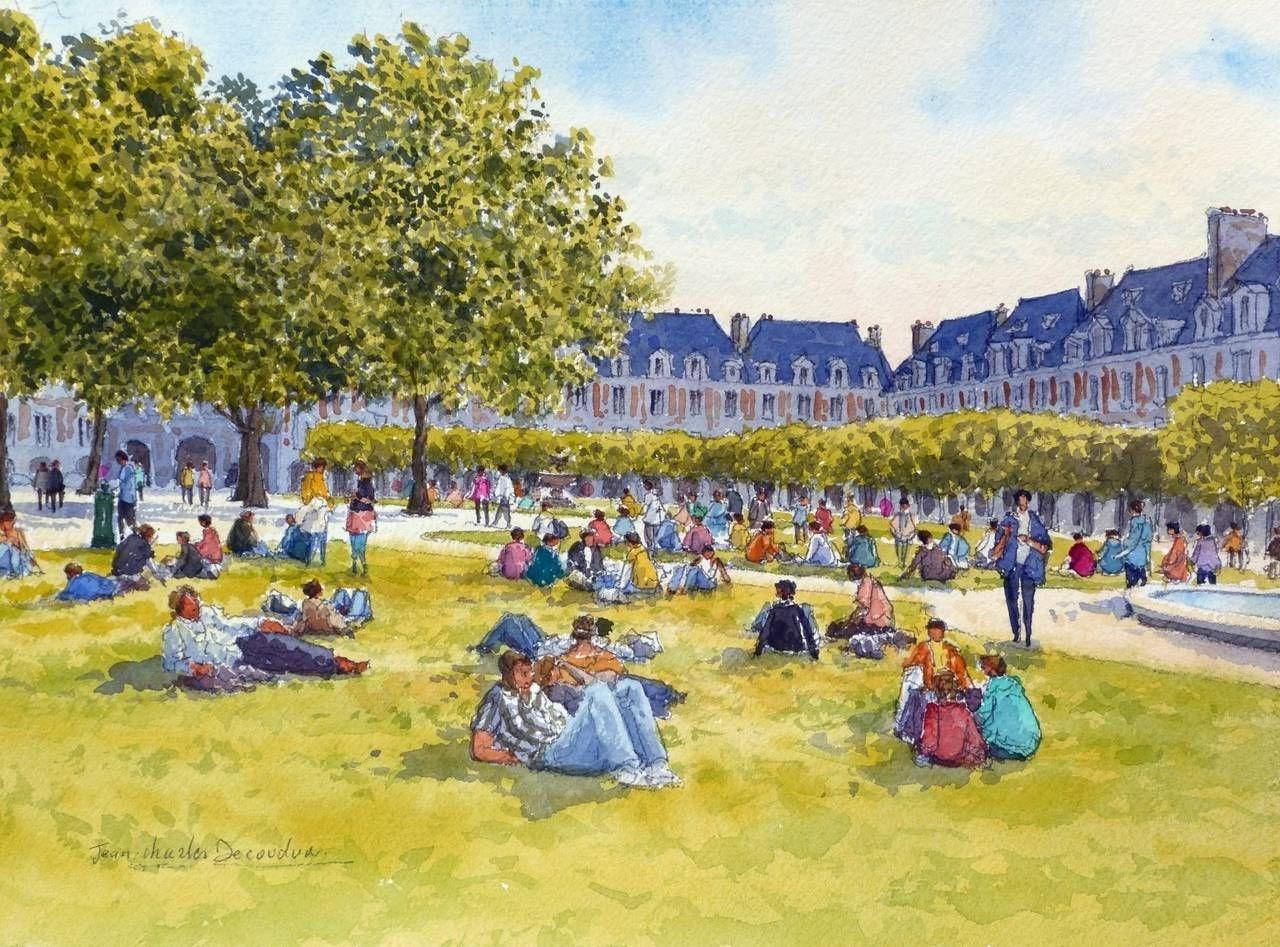Jean Charles Decoudun La Place des Vosges  C A Paris