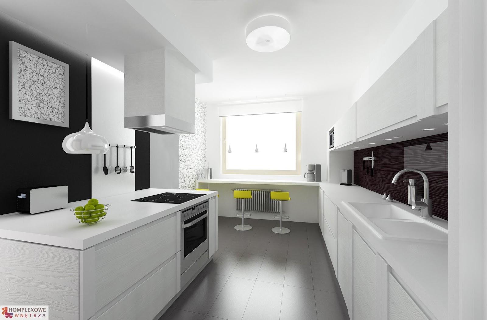 Nowoczesna kuchnia z oknem  Bajkowe Wnętrza -> Kuchnia Bialo Czarna Z Oknem