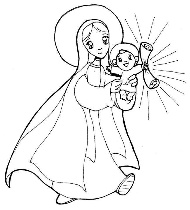 Compartiendo por amor: Dibujos Virgen María y el niño Jesús