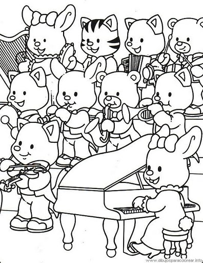 Orquesta de animales para colorear