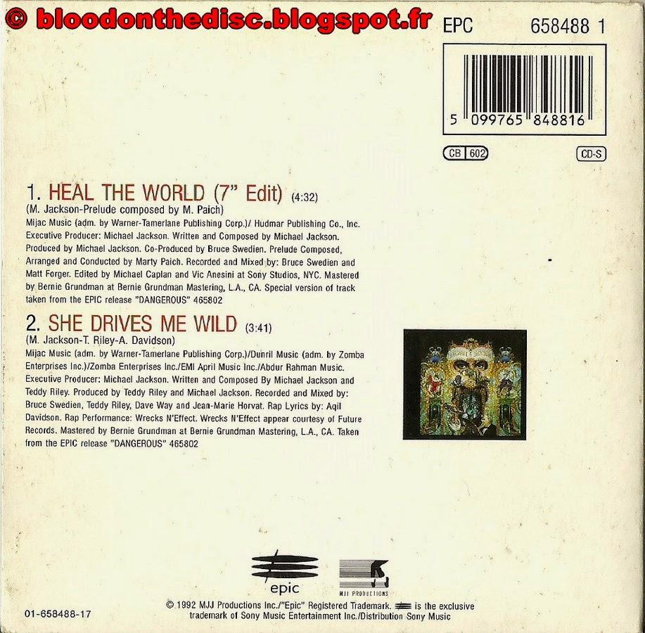 CD 2 titres de Heal The World pochette arrière