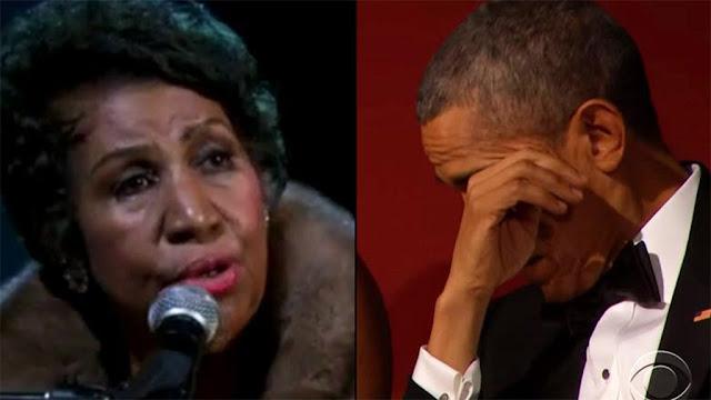 Aretha Franklin hizo llorar a Obama con una de sus presentaciones (VÍDEO)