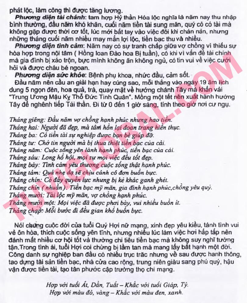 ... vi tuổi Quý Hợi nữ mạng - Thái Ất tử vi 2014 Giáp Ngọ