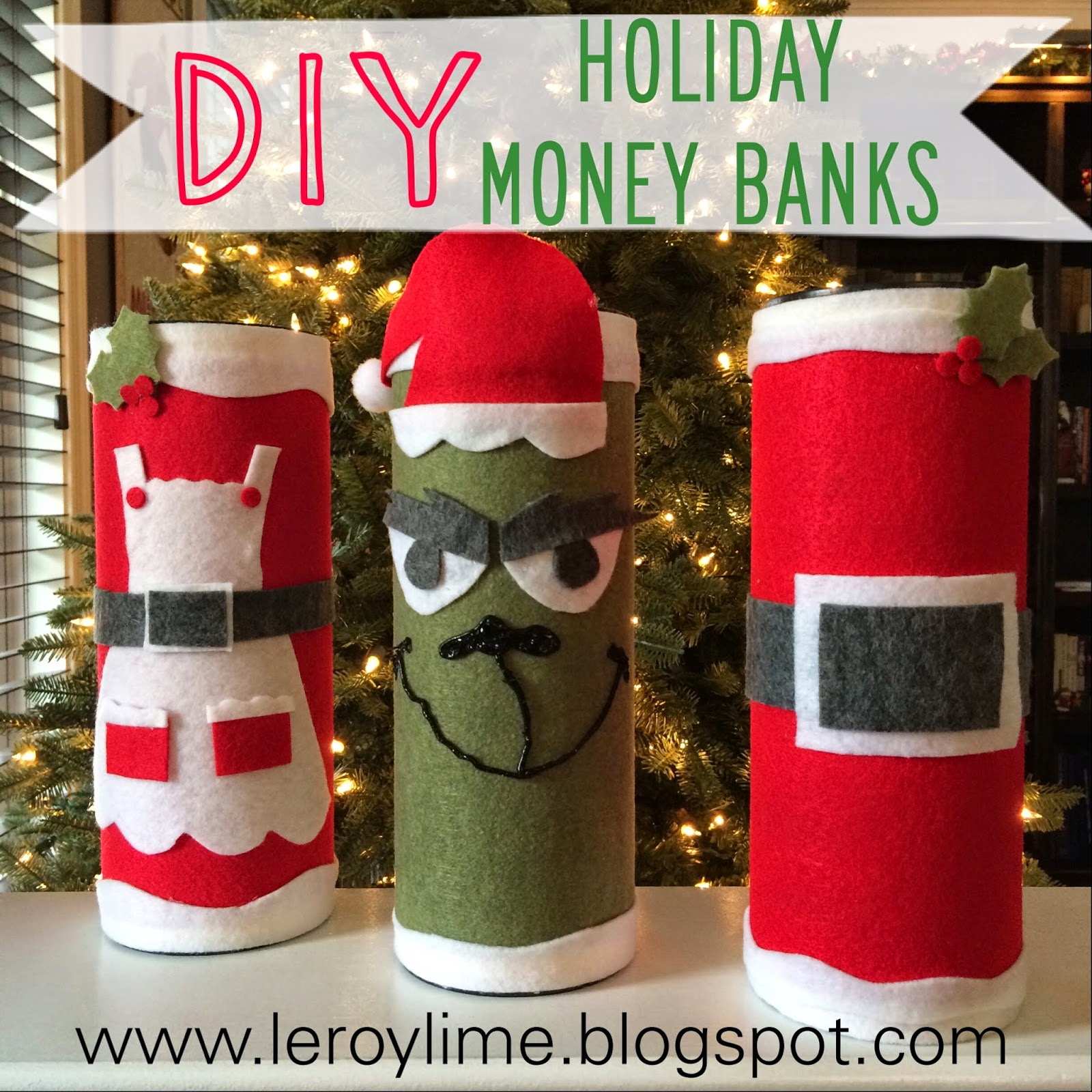 DIY Holiday Money Banks - An Upcycle Project, Felt Craft - LeroyLime