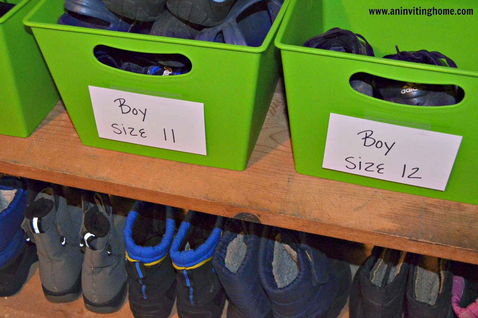 using bins to store kids shoes