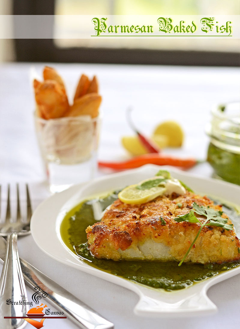 Baked parmesan fish with green pesto scratching canvas for Baked parmesan fish