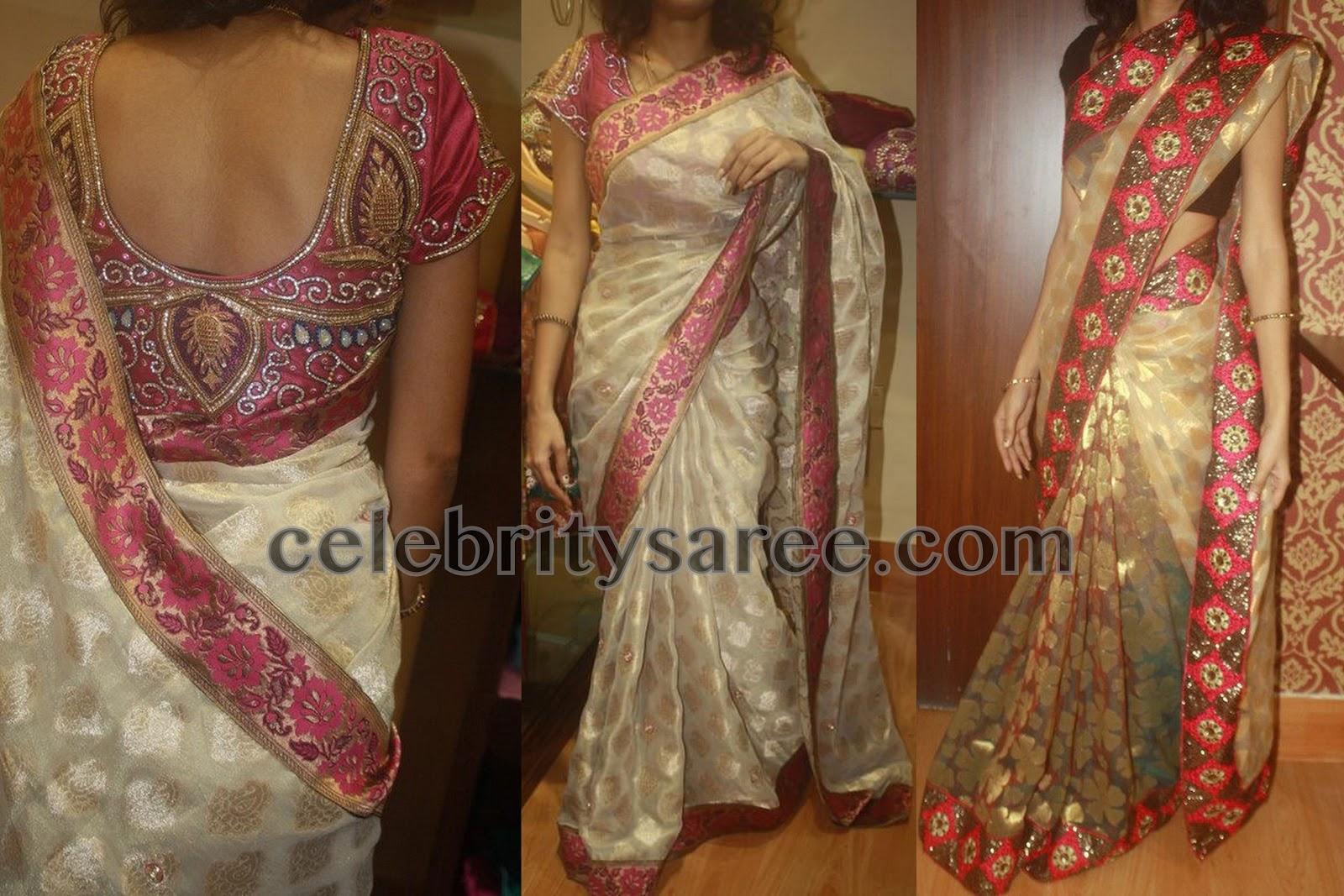 Off white saree with benaras blouse saree blouse patterns