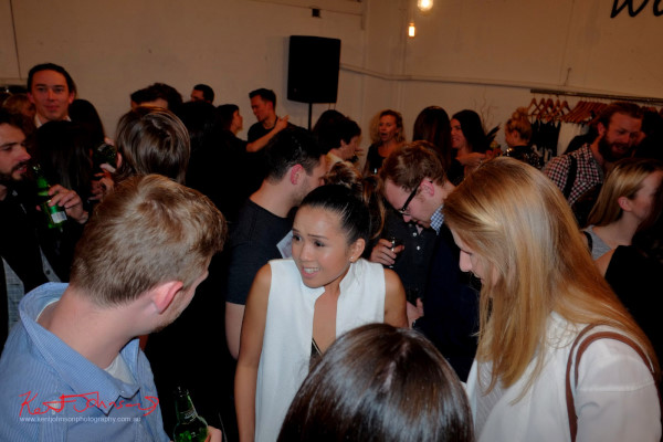 designer mingles with fashion crowd, Wolftress WE ARE WARRIORS, VIP Launch 2015