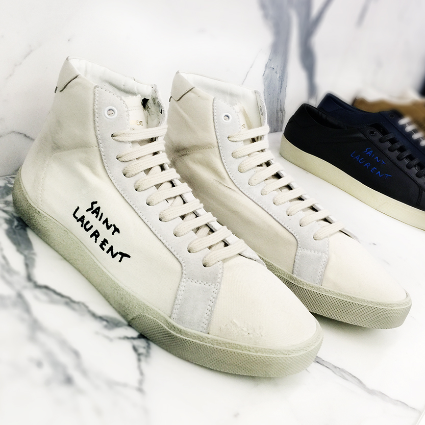 Saint Laurent Court Classic Mid High embroidered SL/06 sneakers.