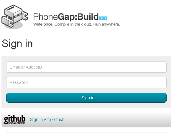 phonegap login