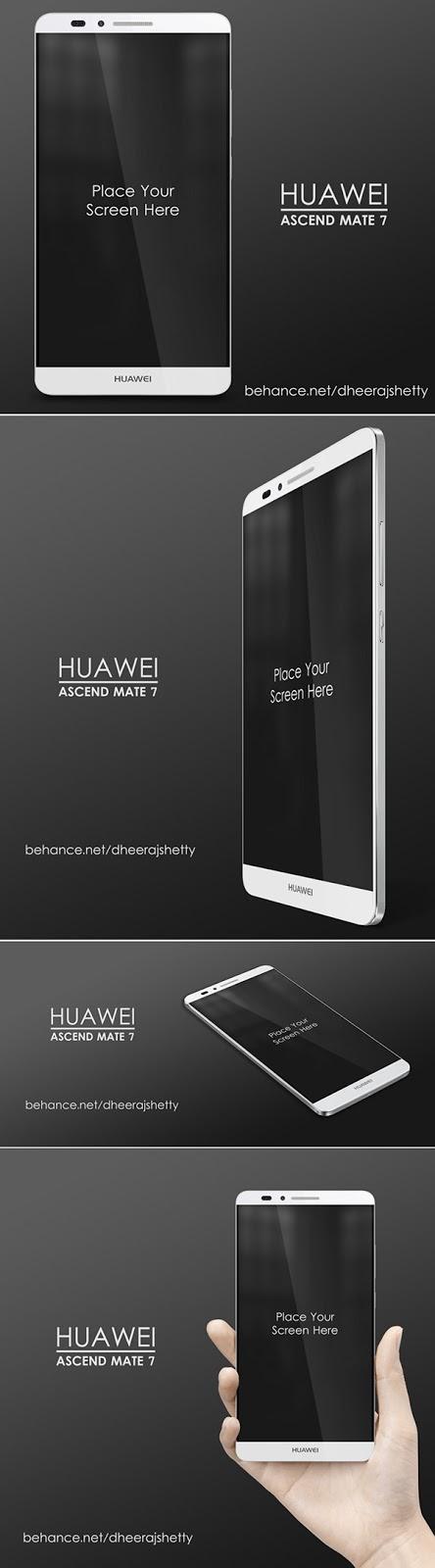 Smartphone & Tablet Mockup PSD Terbaru Gratis - Huawei Ascend Mate 7 PSD Mockup