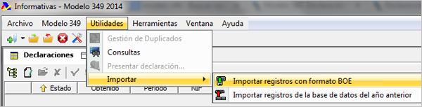 importación de registros a la plataforma aeat
