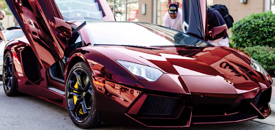 Lamborghini Aventador Gets Chrome Red Wrap