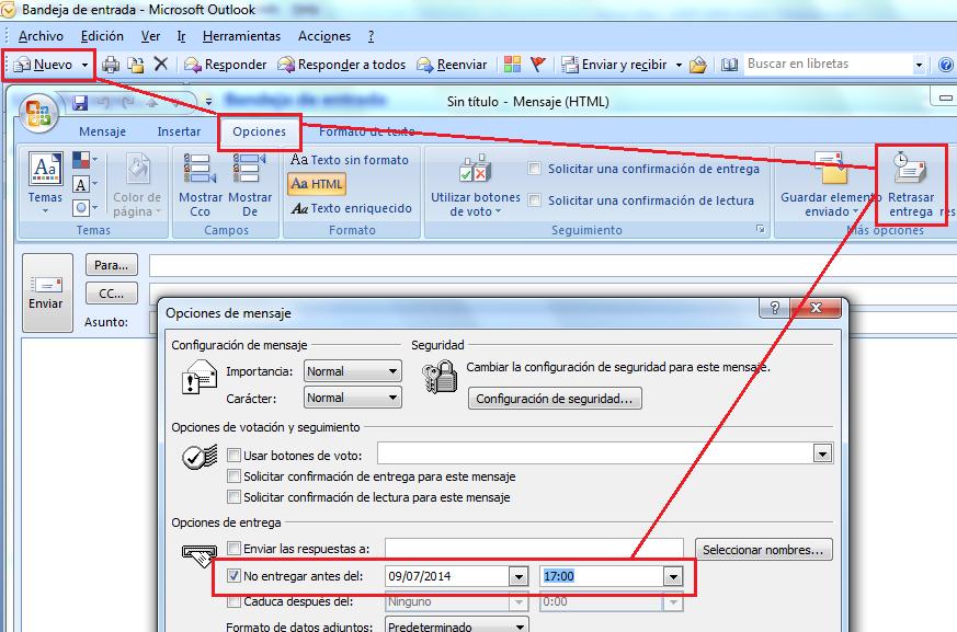 Outlook: Programar el envío de los correos