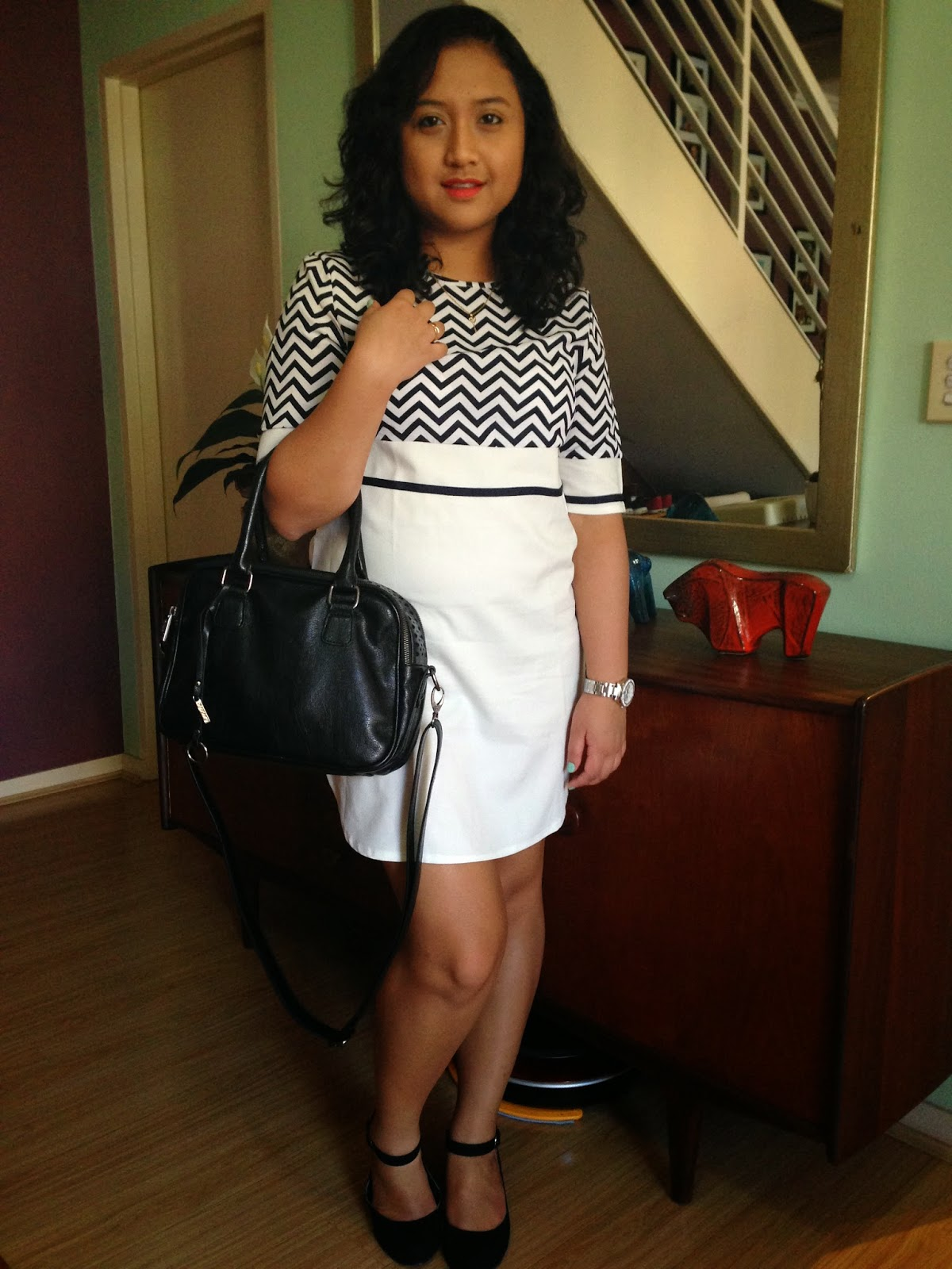 Into Monochrome Shift dress, Olga Berg bag, Wedge Court Shoes, Fossil Watch