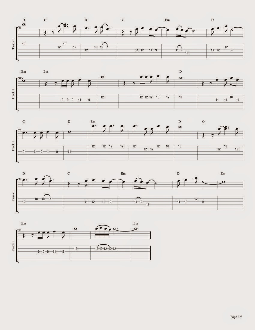 3 Eastern Blues ``When will we have met somewhere'' Sheet Music for Guitar, Tablature and Tabs for guitar