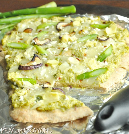 Asparagus Artichoke Whole Grain Flatbread Pizza