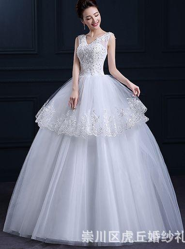 queusar: vestido de novia corte princesa con tirantes de tul