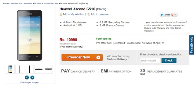 Huawei Ascend G510 And Ascend Y300 Now On Pre Order For Rs10990 And