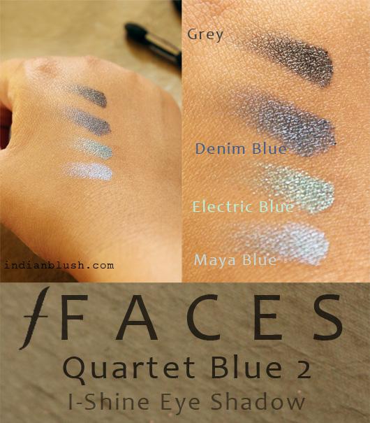 Faces I-Shine Eye Shadow Quartet Blue 2 swatches