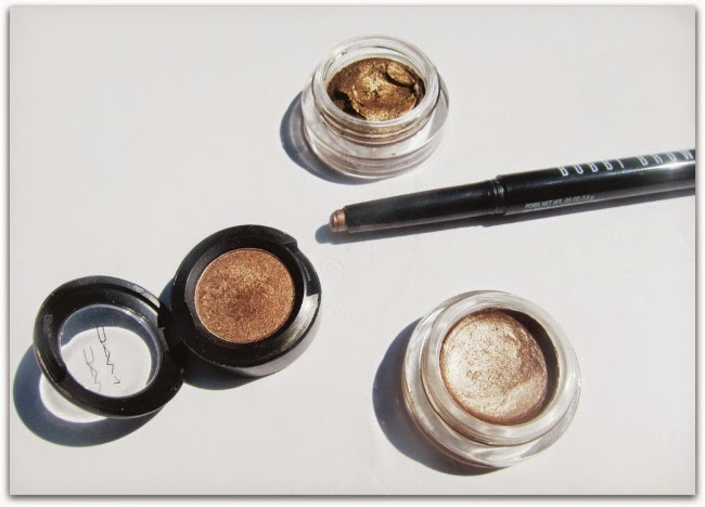 Chanel Mirage; Bobbi Brown Bronze; Maybelline On and On Bronze; MAC Woodwinked