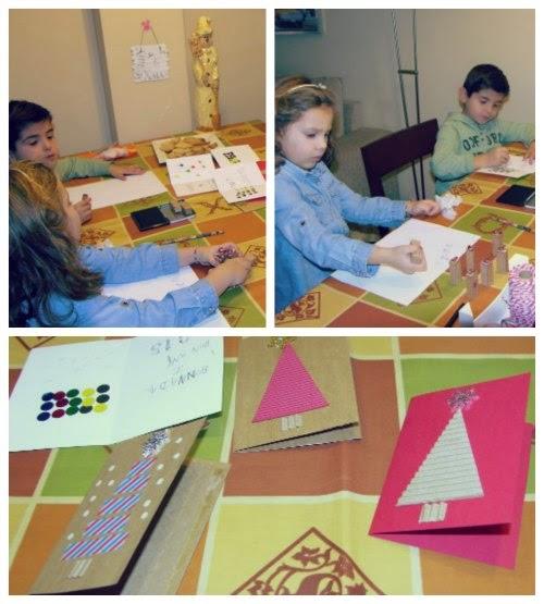 Preparando postales de Navidad