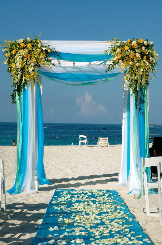 Arch decorations for weddings turquoise and coral wedding for Arch decoration supplies