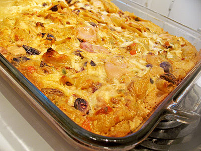 Pasta and Goat Cheese Casserole with Black Olives