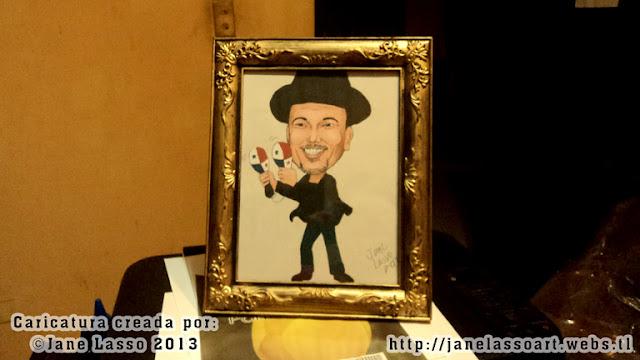 Caricatura de Rubén Blades impresa en un cuadro