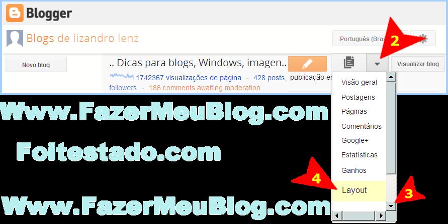 adicionar logomarca e elementos de pagina no blogger