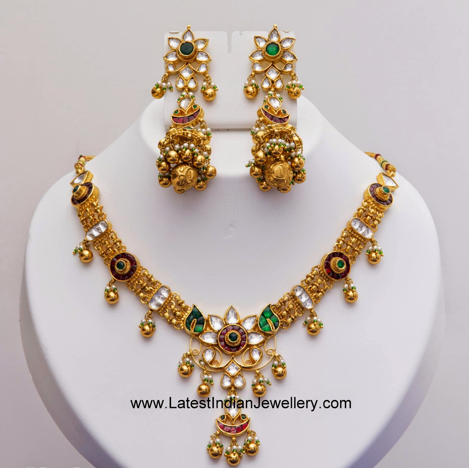 antique gold kundan necklace jhumkas set