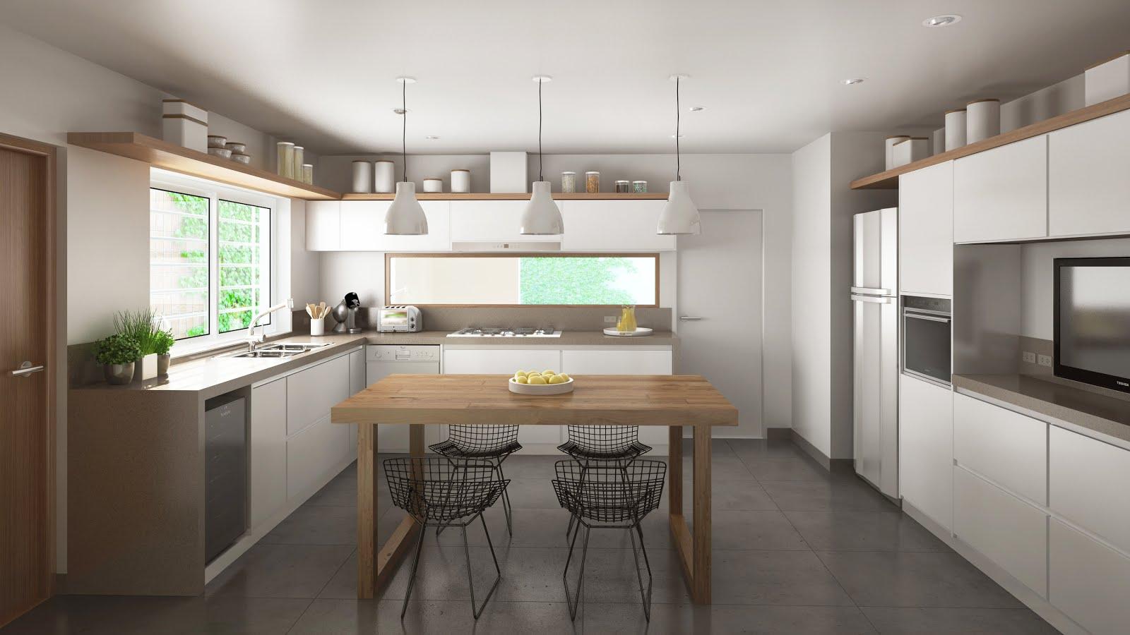 Renders arquitectura for Cocinas de departamentos modernos