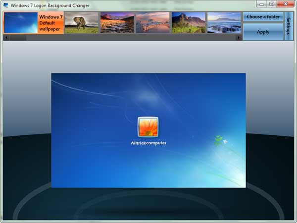 Windows7 logon background changer