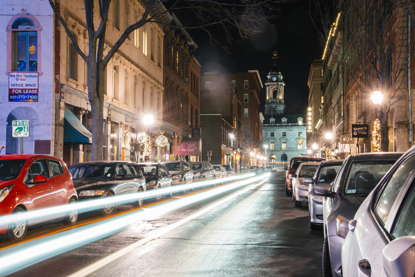 Portland, Maine USA January 2016 Exchange Street in the Old Port night photo by Corey Templeton.