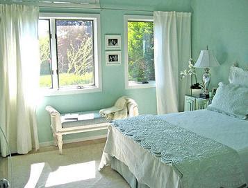 M nica dise os dormitorios estilo country for Dormitorio verde agua