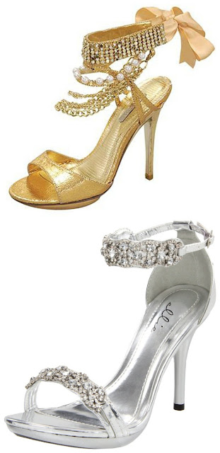 golden and sliver prom shoes
