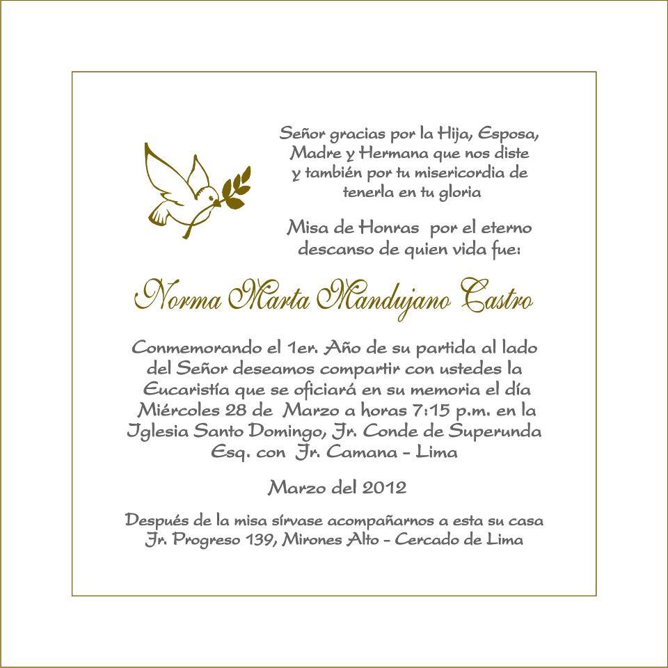 Modelo De Tarjetas De Invitacion Para Misa De Difuntos
