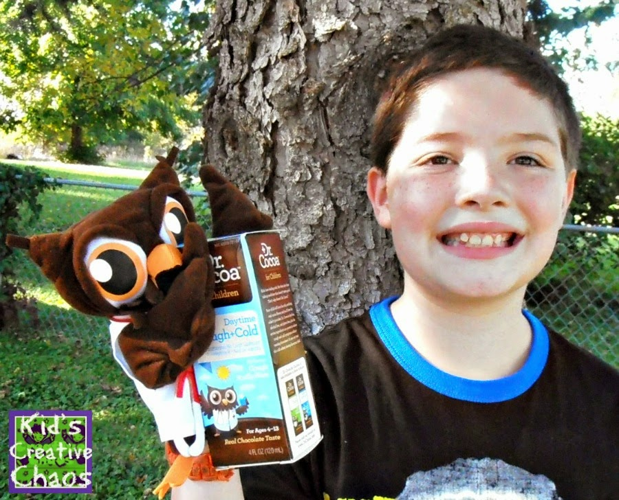 Chocolate flavored cough syrup makes for smiling sick kids!