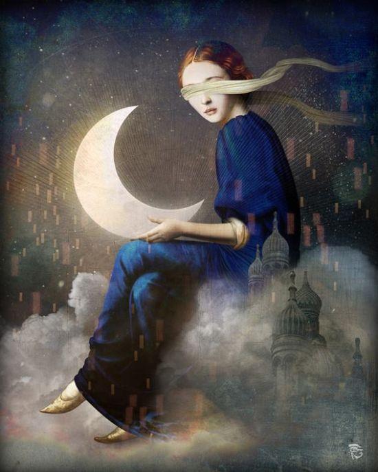 Christian Schloe ilustração digital surreal onírica sonhos Reino de nuvens